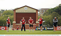 7 June 2013; British & Irish Lions head coach Warren Gatland, right, with assistant coaches, from left Neil Jenkins, Rob Howley, Graham Rowntree and Andy Farrell during the captain's run ahead of their game against Queensland Reds on Saturday. British & Irish Lions Tour 2013, Captain's Run, Anglican Church Grammar School, Oaklands Parade, East Brisbane, Queensland, Australia. Picture credit: Stephen McCarthy / SPORTSFILE