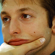 Australia's Ian Thorpe during his press conference where questions were asked regarding drug use at the European Swimming Championships
