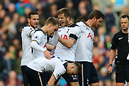 Eric Dier of Tottenham Hotspur (c) celebrates with his teammates after scoring his teams 1st goal. Premier League match, Burnley v Tottenham Hotspur at Turf Moor in Burnley , Lancs on Saturday 1st April 2017.<br /> pic by Chris Stading, Andrew Orchard sports photography.