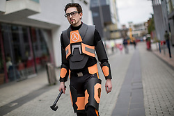 © licensed to London News Pictures. London, UK 28/04/2013. David Strachan posing with his Gordon Freeman costume as cosplayers and science fiction fans gathering for Sci-Fi Parade in Stratford, London on Sunday, 28 April 2013. Photo credit: Tolga Akmen/LNP