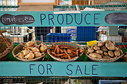 Organic produce for sale at Organiclea urban farm in London, UK. Organiclea in Chingford, Waltham forest east London is one of London's most important urban farms. They run an organic veg box delivery scheme and the Hornbeam cafe.
