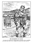 """The Discretion of Canute. Mr. Atlee. """"My opinions of course remain unaltered, but my courtiers advise me that this is not a moment for getting my feet too wet."""" (Atlee leaves his thrown to the Opposition amid approaching Re-Armament waves)"""