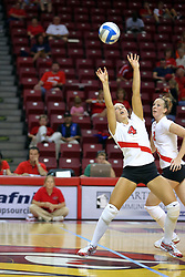 18 AUG 2007:Erin Lindsey sets up the ball.  The Illinois State Redbirds, picked for 5th in the pre-season Missouri Valley Conference coaches poll, prepare for the beginning of the season during the annual Red/White inter-squad scrimmage at Redbird Arena in Normal Illinois.