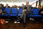 © Licensed to London News Pictures. 23/03/2013. Exeter, UK . Former Conservative MP Neil Hamilton waits before he delivers a speech to conference.  The UK Independence Party (UKIP) 2013 Spring Conference is held at the Great Hall, Exeter University today, Saturday 23rd March 2013. Support for the party is rising after success in the recent Eastleigh by-election, where UKIP came second behind the Liberal Democrats. Photo credit : Stephen Simpson/LNP