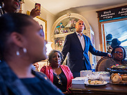 07 JANUARY 2020 - DES MOINES, IOWA: US Senator CORY BOOKER (D-NJ) meets women at a luncheon for African-American women in Des Moines. Sen. Booker is campaigning in Iowa to support his candidacy for the US Presidency. He cut his campaign schedule short so he could return to Washington DC for briefings about the Iran situation. Iowa traditionally holds the first event of the presidential election cycle. The Iowa caucuses are Feb. 3, 2020.       PHOTO BY JACK KURTZ