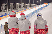 Evening at Phoenix Snow Park on day 2 of the Pyeongchang 2018 Winter Olympics and spectators gather for the Freestyle Skiing Mogul Practice on 05th February in South Korea.