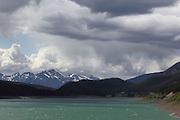Views driving along Medicine Lake, near Jasper, Alberta, Canadian Rockies