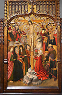 Gothic Catalan altarpiece of, left to right, the martydom of St Bartholomew, Calvaty and the deat of St Mary Magdelene, by Jaume Huguet, Barcelona circa 11465-1480, tempera and gold leaf on for wood, from the church of San Marti de Petegas de san Seloni, Valle Oriental, Spain.  National Museum of Catalan Art, Barcelona, Spain, inv no: MNAC   24365. .<br /> <br /> If you prefer you can also buy from our ALAMY PHOTO LIBRARY  Collection visit : https://www.alamy.com/portfolio/paul-williams-funkystock/gothic-art-antiquities.html  Type -     MANAC    - into the LOWER SEARCH WITHIN GALLERY box. Refine search by adding background colour, place, museum etc<br /> <br /> Visit our MEDIEVAL GOTHIC ART PHOTO COLLECTIONS for more   photos  to download or buy as prints https://funkystock.photoshelter.com/gallery-collection/Medieval-Gothic-Art-Antiquities-Historic-Sites-Pictures-Images-of/C0000gZ8POl_DCqE