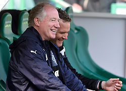 Rangers caretaker manager Jimmy Nicholl with assistant coach Jonatan Johansson in the dug out before the Ladbrokes Scottish Premiership match at Easter Road, Edinburgh. PRESS ASSOCIATION Photo. Picture date: Sunday May 13, 2018. See PA story SOCCER Hibernian. Photo credit should read: Ian Rutherford PA Wire. RESTRICTIONS: EDITORIAL USE ONLY