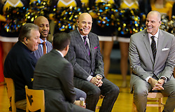 Jan 27, 2018; Morgantown, WV, USA; West Virginia Mountaineers head coach Bob Huggins makes an appearance on ESPN College Gameday set before the Big 12/SEC challenge game between West Virginia and Kentucky at WVU Coliseum. Mandatory Credit: Ben Queen-USA TODAY Sports