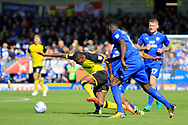 Burton Albion midfielder Lloyd Dyer (11) is fouled by Cardiff City defender Bruno Ecuele Manga (5) during the EFL Sky Bet Championship match between Burton Albion and Cardiff City at the Pirelli Stadium, Burton upon Trent, England on 5 August 2017. Photo by Richard Holmes.