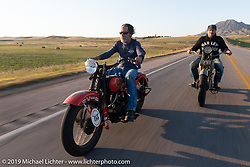 Cole Deister and race director Jason Sims ride antique Harley-Davidsons on the one rest day of the Motorcycle Cannonball coast to coast vintage run. Rest day in Sturgis, SD. Monday September 17, 2018. Photography ©2018 Michael Lichter.