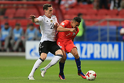 22nd June 2017 - FIFA Confederations Cup (Group B) - Germany v Chile - Alexis Sanchez of Chile scores their 1st goal under pressure from Sebastian Rudy of Germany - Photo: Simon Stacpoole / Offside.
