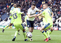 Preston North End's Alan Browne looks to run past Derby County's Curtis Davies (left) and Alex Pearce<br /> <br /> Photographer Rich Linley/CameraSport<br /> <br /> The EFL Sky Bet Championship - Preston North End v Derby County - Monday 2nd April 2018 - Deepdale Stadium - Preston<br /> <br /> World Copyright © 2018 CameraSport. All rights reserved. 43 Linden Ave. Countesthorpe. Leicester. England. LE8 5PG - Tel: +44 (0) 116 277 4147 - admin@camerasport.com - www.camerasport.com