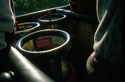 GERMANY SCHLESWIG-HOLSTEIN KIEL 9JUN02 - The propane tanks aboard the balloon's basket. A full gas tank can last for up to 1 1/2 hour of flight time in a balloon weighing just under 2 tons...jre/Photo by Jiri Rezac..© Jiri Rezac 2002..Contact: +44 (0) 7050 110 417..Mobile:  +44 (0) 7801 337 683.Office:  +44 (0) 20 8968 9635..Email:   jiri@jirirezac.com.Web:     www.jirirezac.com