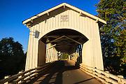 USA, Oregon, Scio, the Gilkey Bridge, covered bridge in early Autumn.