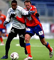 Fotball<br /> Treningskamp<br /> Aalesund v Sogndal 1-2 <br /> Color line stadion<br /> 18.02.2006<br /> Foto: Richard brevik, Digitalsport<br /> <br /> Newton Sterling - Sogndal<br /> Joakim Alexandersson - Aafk