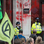 Bank of England, London, UK. 2021-08-27. Blood Money march through the City of London intended to highlight the institutions complicit in environmental racism and exploitation.