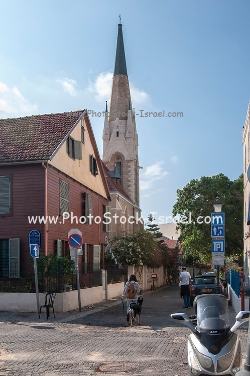 Israel, Tel Aviv, Jaffa, exterior of the Immanuel Lutheran Church. The church was built in 1904 in by German Templers in the American Colony