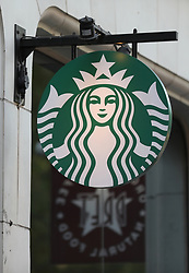 A logo for Starbucks on a branch near Oxford Street, London. Picture dated: Thursday September 13, 2018. Photo credit should read: Isabel Infantes / EMPICS Entertainment.