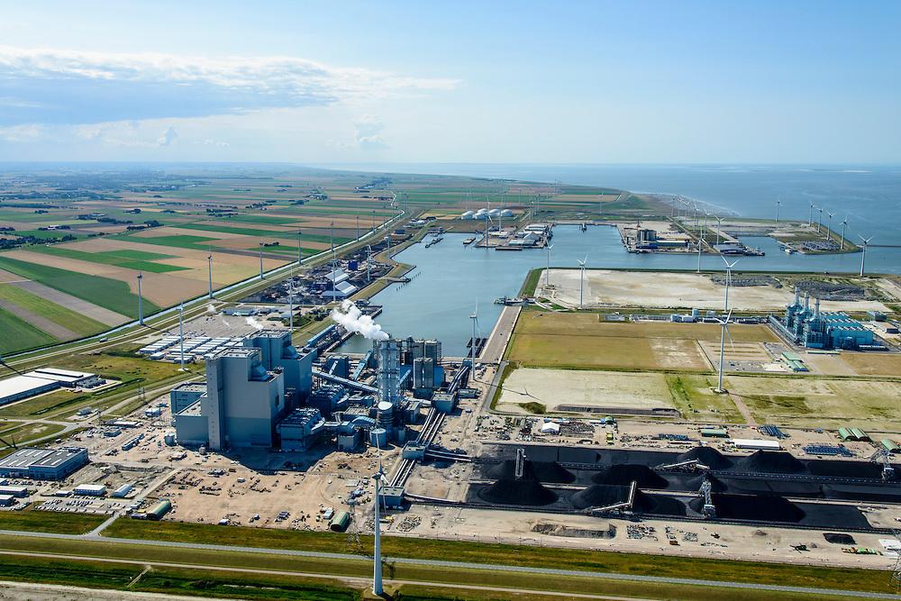Nederland, Groningen, Eemshaven, 05-08-2014; Haven omzoomd door windmolens. Energie-landschap met elektricitieitscentrales: de RWE-Essent elektriciteitscentrale (voorgrond, kolencentrale) en de centrale van Nuon (achtergrond).<br /> <br /> Harbor area and energy landscape with wind turbines and different power plants: the coal fired  RWE-Essent plant (middle) and the Nuon (Magnum multi-fuel plant (background).<br /> <br /> luchtfoto (toeslag op standard tarieven);<br /> aerial photo (additional fee required);<br /> copyright foto/photo Siebe Swart