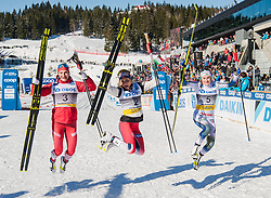 March 10, 2019 - Oslo, NORWAY - 190310 Natalia Nepryaeva of Russia, Therese Johaug of Norway and Ebba Andersson of Sweden celebrates after the women's 30 km classic technique mass start during the FIS World Cup on March 10, 2019 in Oslo..Photo: Jon Olav Nesvold / BILDBYRÃ…N / kod JE / 160424 (Credit Image: © Jon Olav Nesvold/Bildbyran via ZUMA Press)