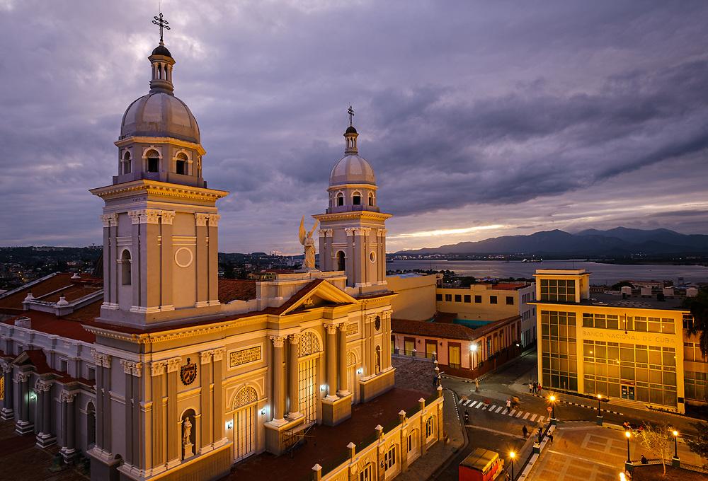 SANTIAGO DE CUBA, CUBA - CIRCA JANUARY 2020: Cathedral Basilica of Our Lady of the Assumption in Santiago de Cuba
