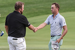 August 12, 2018 - Town And Country, Missouri, U.S - SHANE LOWRY from Ireland and JUSTIN THOMAS from Goshen Kentucky, USA shake hands after completion of their round during round four of the 100th PGA Championship on Sunday, August 12, 2018, held at Bellerive Country Club in Town and Country, MO (Photo credit Richard Ulreich / ZUMA Press) (Credit Image: © Richard Ulreich via ZUMA Wire)
