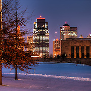 Part of the downtown KCMO Skyline viewed with my telephoto lens across the grounds of Liberty Memorial.