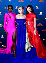 Lashana Lynch, Brie Larson and Gemma Chan attending the Captain Marvel European Premiere held at the Curzon Mayfair, London. Picture date: Wednesday February 27, 2019. Photo credit should read: Ian West/PA Wire
