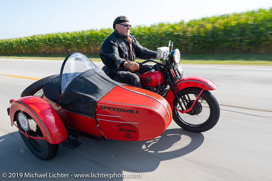 Erik Dunk, known to everyone simply as Dunk, with his 1937 Harley-Davidson EL during the Cross Country Chase motorcycle endurance run from Sault Sainte Marie, MI to Key West, FL (for vintage bikes from 1930-1948). Stage 4 saw a 315 mile ride from Urbana, IL to Bowling Green, KY USA. Monday, September 9, 2019. Photography ©2019 Michael Lichter.