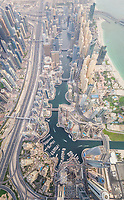 Aerial view of Towers surrounding harbour in Dubai canal, U.A.E.