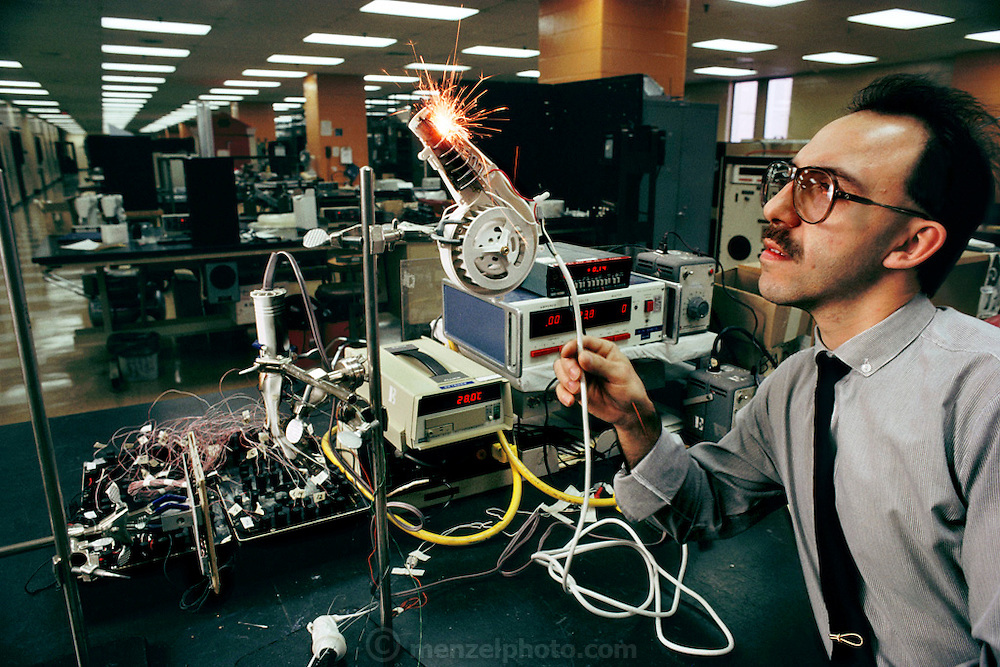 Carlos Barbaro tests hair drier circuits at the Underwriters test Lab in Northbrook (Chicago) IL.