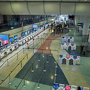 Terminal 1 remains sparse before noon at McCarran International Airport in Las Vegas, Nevada on Tuesday, October 20, 2020. (Alex Menendez via AP)