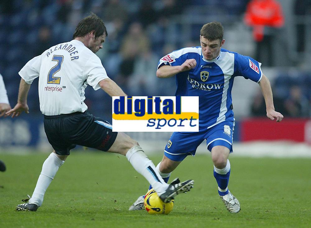 Photo: Aidan Ellis.<br /> Preston NE v Cardiff City. Coca Cola Championship.<br /> 19/11/2005.<br /> Cardiff's Jason Koumas fails to get past Preston's Graham Alexander