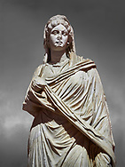 Roman statue of Sabina .Marble. Perge. 2nd century AD. Inv no 3066-3086. Antalya Archaeology Museum; Turkey. .<br /> <br /> If you prefer to buy from our ALAMY STOCK LIBRARY page at https://www.alamy.com/portfolio/paul-williams-funkystock/greco-roman-sculptures.html . Type -    Antalya     - into LOWER SEARCH WITHIN GALLERY box - Refine search by adding a subject, place, background colour, museum etc.<br /> <br /> Visit our ROMAN WORLD PHOTO COLLECTIONS for more photos to download or buy as wall art prints https://funkystock.photoshelter.com/gallery-collection/The-Romans-Art-Artefacts-Antiquities-Historic-Sites-Pictures-Images/C0000r2uLJJo9_s0