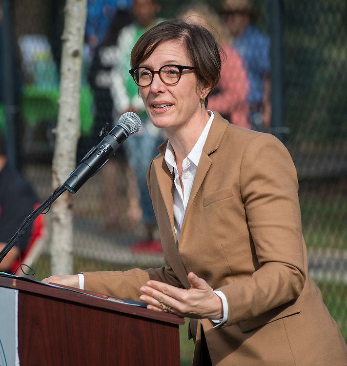 Houston ISD Trustee Anna Eastman comments during a groundbreaking ceremony at Garden Oaks Montessori, February 17, 2017.