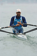 FISA World Cup Rowing Munich Germany..27/05/2004..Thursday morning opening heats...ITA M1X Simone Raneri.. [Mandatory Credit: Peter Spurrier: Intersport Images].