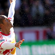 Roy Miller, New York Red Bulls, in action during the New York Red Bulls Vs Columbus Crew, Major League Soccer regular season match at Red Bull Arena, Harrison, New Jersey. USA. 19th October 2014. Photo Tim Clayton