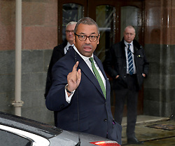 Conservative Party Chairman James Cleverly leaves his hotel on the first day of the Conservative Party conference in Manchester<br /> <br /> © Dave Johnston / EEm