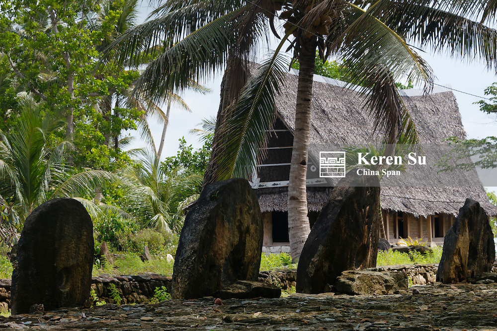 Men's house and stone money, Yap Island, Federated States of Micronesia