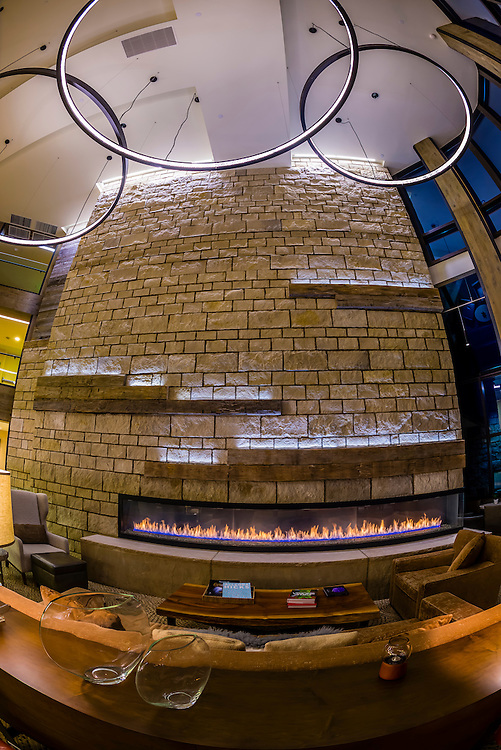 Fireplace in the lobby of the Westin Snowmass Resort, Snowmass Village (Aspen), Colorado USA.
