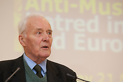 """© under licence to London News Pictures. LONDON, 21/05/2011. Tony Benn speaking at conference """"Confronting Anti-Muslim Hatred in Britain and Europe"""". London Muslim Centre. Photo credit should read BETTINA STRENSKE/LNP"""