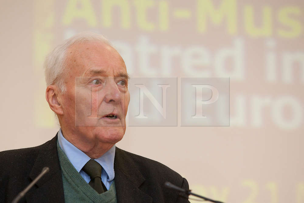 "© under licence to London News Pictures. LONDON, 21/05/2011. Tony Benn speaking at conference ""Confronting Anti-Muslim Hatred in Britain and Europe"". London Muslim Centre. Photo credit should read BETTINA STRENSKE/LNP"