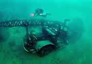 KISS Spirit rebreather diver on the air force crane wreck at Dutch Springs Quarry, Bethlehem, Pennsylvania
