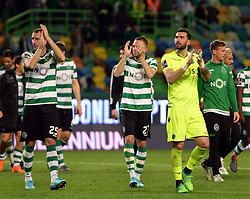 LISBON, April 23, 2018  Players of Sporting greet the spectators after Portuguese League soccer match between Sporting CP and Boavista FC in Lisbon, Portugal, on April 22, 2018. Sporting won 1-0.  wll) (Credit Image: © Zhang Liyun/Xinhua via ZUMA Wire)