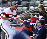 CHICAGO - APRIL 27:  Jose Abreu #79 of the Chicago White Sox smiles after scoring against the Tampa Bay Rays on April 27, 2014 at U.S. Cellular Field in Chicago, Illinois.  The White Sox defeated the Rays 9-2.  (Photo by Ron Vesely)   Subject: Jose Abreu
