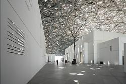 Interior of the Louvre Abu Dhabi at Saadiyat Island Cultural District in Abu Dhabi, UAE. Architect Jean Nouvel
