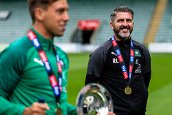 (Free to use courtesy of Sky Bet) Captain Gary Sawyer with Assistant Manager Steven Schumacher and Manager Ryan Lowe as Plymouth Argyle celebrate promotion to League One after the curtailment of the regular season due to the Covid-19 pandemic - Rogan/JMP - 01/07/2020 - Home Park - Plymouth, England - Sky Bet League 2.