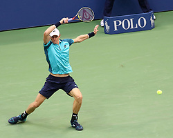 Kevin Anderson competes against Rafael Nadal during the men's final on day fourteen of the US Open at Billie Jean King National Tennis Center in New York.